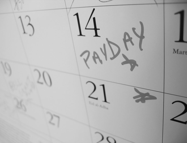 Monthly calendar showing payday