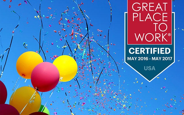 Balloons & confetti in sky with Great Place to Work® logo