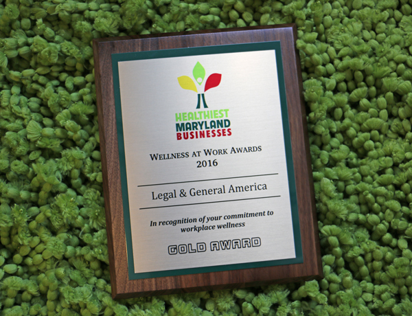 Award plaque from Healthiest Maryland Businesses